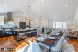 Perfectly situated, the dining room adjoins the kitchen and living room making parties and dinners a snap.