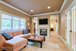 """15' x 12'4"""" Crown Moulding, Recessed Lighting, 2 sided gas fireplace with Marble hearth and surround/custom wood mantel, Kane wool Carpeting"""