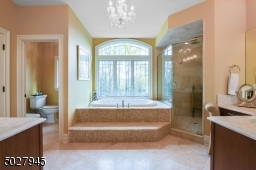 Double French door Entry, Schonbek Chandelier, Two Vanities, travertine Tops/ Rohl faucets, swarovski crystal handles, roman maax tub with jets and therapeutic air bubbles/honey onyx tile surround, rohl faucets