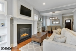 With gas fireplace and custom built-ins.
