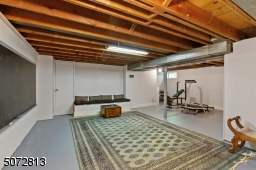 Rec room in basement with workout area, separate workshop and storage area