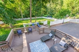 Double Tiered Deck overlooking fully fenced grassy level yard area