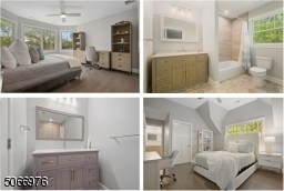 Bedroom 2 is en-suite w/ two walk-in closets. Bedrooms 3 & 4 are both well-appointed w/ double fitted closets & hardwood floors .A chic Full Hallway Bathroom w/ a rain shower over the bathtub has beautiful tiled walls & a wood vanity w/ marble top.