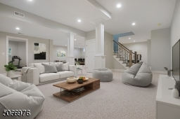 Virtual staged. Endless opportunities for sleepovers & entertaining out-of-town guests in this massive finished LLl w/ 10-ft ceilings & wall-to wall carpeting.