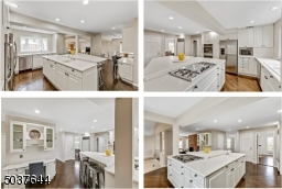 Gourmet Chef?s Eat-In Kitchen features hardwood floors, high-end appliances including SubZero refrigerator and GE Profile double wall ovens, crisp white custom wood cabinetry , floor-to-ceiling pantry,