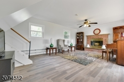 Family Room with ceiling fan