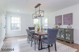 Large open bright light formal dining room