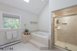 Tub and glass shower in the master bath.
