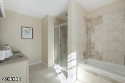 with a spa-like air-jetted tub, separate shower,