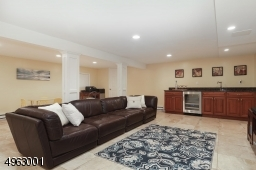 Family room with Wet Bar with Schuler Cabinetry, Granite Countertop,Recessed Lighting, Half Bathroom,