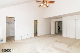 Large master bedroom with walk in closet and vaulted ceiling with skylight.