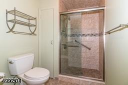 Tiled shower with glass door.