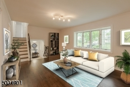 Living Room with newly refinished hardwood flooring
