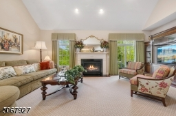 Bright and sunlit, this large family room, open to kitchen, provides gas fireplace and entranceway to the deck showing off its premium location.