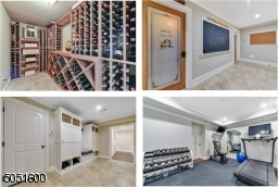 Traditional staircase w/decorative wood balusters, built-in chalkboard, cubbies w/open & concealed storage, built-in seat, bead board ceiling & recessed lights. Wine RM w/ temperature control & keypad lock. Gym featuring rubber flooring & mounted mirror.