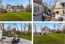 Bluestone Patio with built-in fireplace and outdoor Kitchen. Level and secluded grassy backyard beyond the patio.
