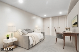 Home Office featuring wall-to-wall carpeting and two closets and recessed lights