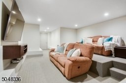 Media Room featuring wall-to-wall carpeting, recessed lights and tiered seating