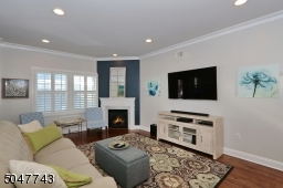 Gas fireplace and plantation shutters
