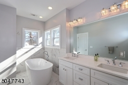 Double sink vanity, soaking tub and glass stall shower