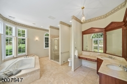 Master bathroom with soaking tub and shower stall overlooking back yard.