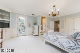 Large walk-in closet, master bath, door to private deck