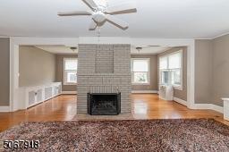 Wood burning Fireplace; ceiling fan