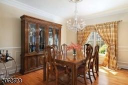 Hardwood flooring and decorative molding.