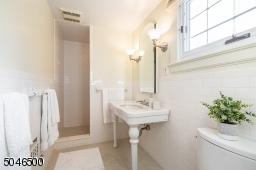 Large pedestal sink, lots of natural light and big stall shower