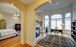 Arched entrance, High Tray ceiling, Corner Gas fire place,
