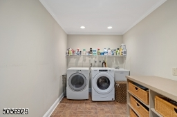 A first floor laundry room with plenty of extra room for storage. What a bonus! Washer and dryer included.