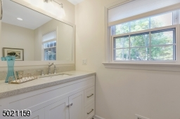 Walk-in Shower with beautifully appointed tiles, custom vanity and linen closet complete this first floor bath.