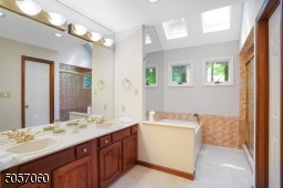 Jetted tub, large stall shower. Skylights