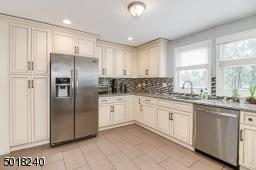 Pantry cabinet, tile backsplash