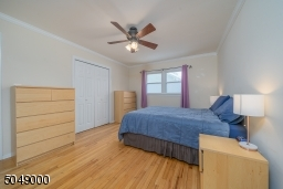 Overhead lighting and ceiling fan, plus double closets
