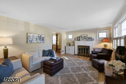 Bright and spacious living room with wood-burning fireplace, hardwood floor. Arched opening to dining room.