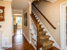 On the right of the foyer are French Doors leading to family room