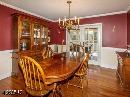 Dining room with chair rail accesses screened porch through the French door