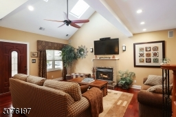 skylights, cathedral ceilings, gas fireplace, wood floors