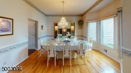 Dining Room with Hardwood Floors and a Bay Window