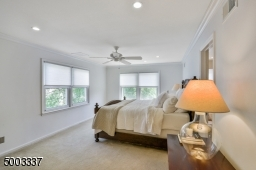 Spacious and bright master bedroom with 2 double windows, recessed lighting and ceiling fan