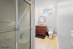 Lower level bathroom adjacent to the guest room